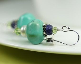 Turquoise color Magnesite Dangle Earrings with pearl, iolite, peridot, Sterling Silver, blue and green stones, by art4ear, turquoise jewelry