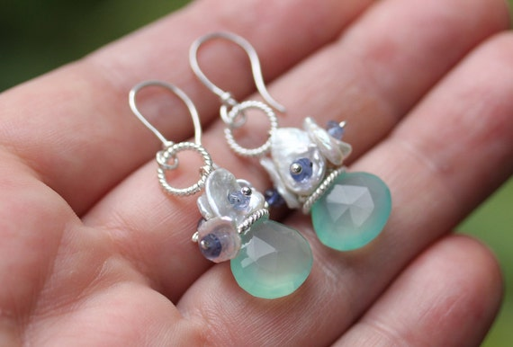 Aqua Blue Chalcedony / freshwater keishi pearls with tiny iolite faceted gemstones / Sterling silver handmade ear wires