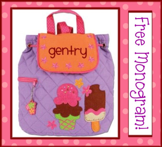 Ships Next Day- Personalized ICE CREAM Quilted Toddler Backpack- Preschool /Day Care/ Diaper Bag