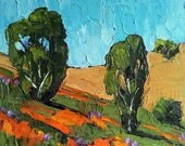 LANDSCAPE Oil Painting Impressionist Plein Air California POPPIES & LUPINE Lynne French Art 8x10