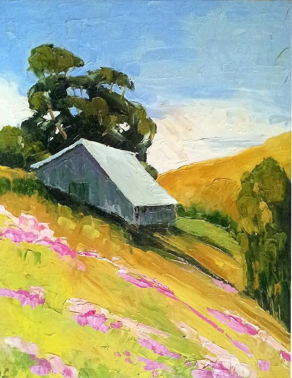 CALIFORNIA Summer BARN & Wildflower MEADOWS Impressionist Landscape Lynne French o/c Art 16x20