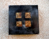 Four Square Steel Light Sconce with Square Cutouts and Amber Mica