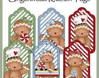 Gingerbread Kitchen Tags - Set of 6 with 2 bonus tags - CU Digital Printable - Immediate Download