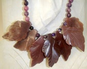 Most Important Love Stone            (Sugilite Carved Leaves Necklace)