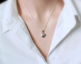Sterling Silver Heart Locket, Locket Necklace, Sterling Silver Locket