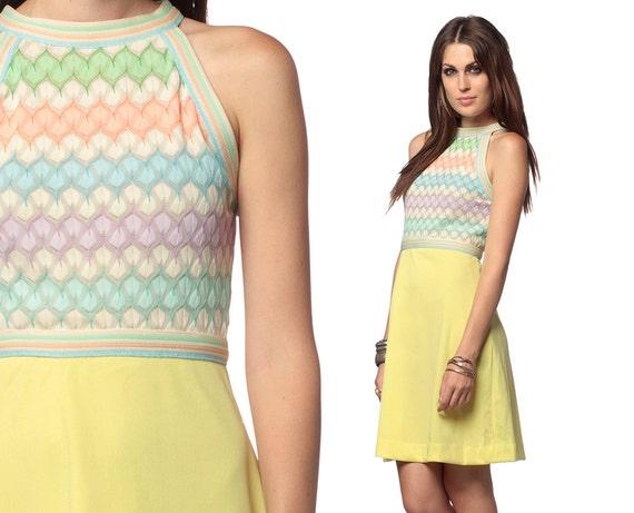 Rainbow Mini Dress 70s Crochet Pastel 1970s Boho Racerback 60s Mod Retro High Waist Yellow Vintage Sleeveless Dress Small Medium S M