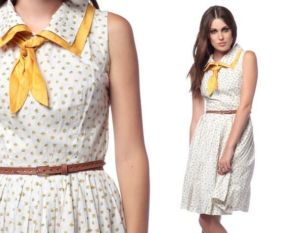 60s Cotton Dress Ascot Bow Fruit Print 1960s Calico White Yellow Mad Men Vintage Full Skirt Collar Hipster Sleeveless Day Dress Medium M