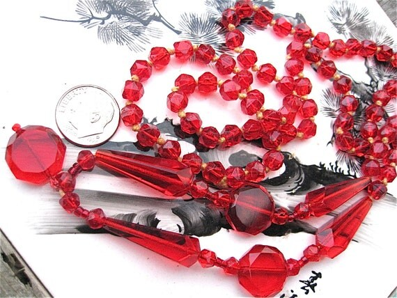 Red Glass Beads Faceted Knotted Vintage Choice Quality Sold As Supplies