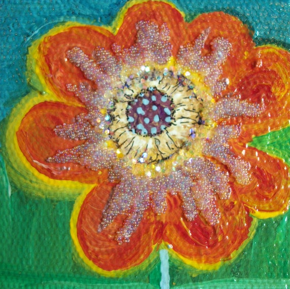 Original Handpainted Flower Mixed Media 3x3inch Heavy Stretched Cotton Canvas Glass Beads Sparkles