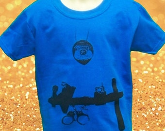 Child Police Officer cop man 2T 3T or 4T outfit Youth PD uniform royal blue Shirt gift tshirt boy girl child NEW