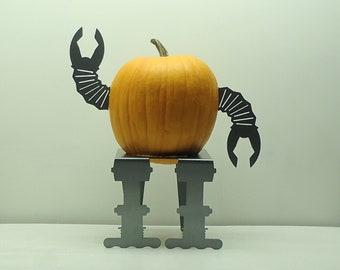 Robo Pumpkin Robot Legs JackOLantern Stand Metal Art - Free USA Shipping