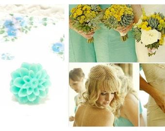 Cricket - Aqua Flower Stud Earrings - Mum Earrings - Crysanthimum
