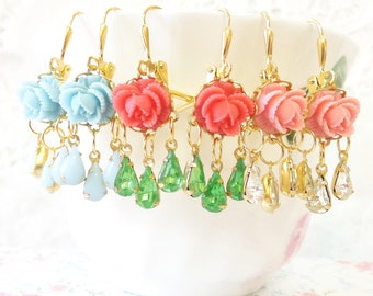 Vintage Chandelier Jewel and Flower Earrings - Whimsical - Bridal - Bridesmaid