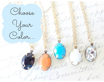 Choose Your Color - Crystal Charm Necklace - Rhinestone Gem - Resin Charm