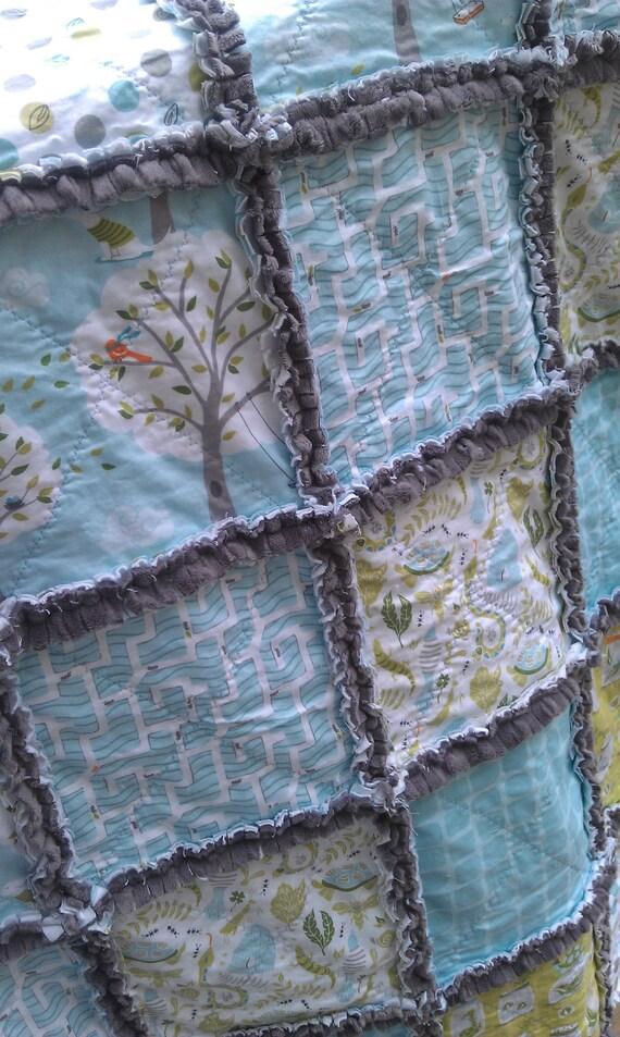 Baby Rag Quilt Crib Plush Minky Michael Miller Backyard Baby Boy Blanket