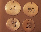 """Copper Number Tags(2 tags)(3/8"""", 1/2"""", or 5/8"""" size)"""