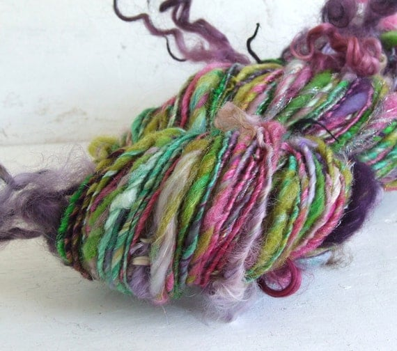 Handspun novelty art yarn - Silly Monsters  - 146 yds