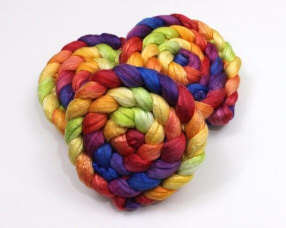 Silk/ Merino Wool Roving - Handpainted Spinning Fiber