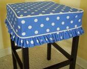 Square Barstool Slipcover Blue Dots Bar Stool Cover Coastal Style Slipcover