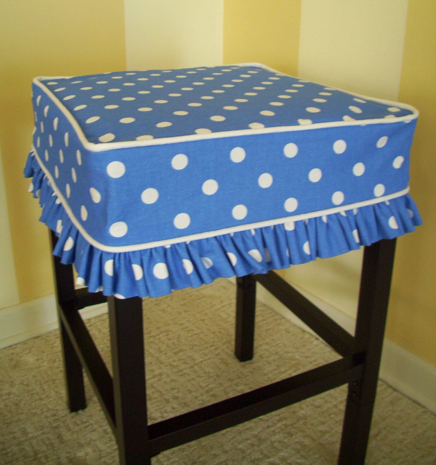 Square Bar Stool Slipcover Blue Dots Barstool Cover
