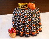 1/12 Scale (Dollhouse) Autumn Pumpkin Trellis Cloth Covered Table in Orange Black and Yellow with Satin Ribbon Trim - Indoor Fairy Garden