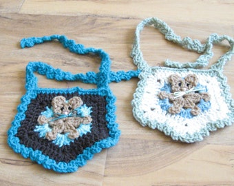 Handmade Crochet Baby Bib Newborn Animal Brown Teddy Bear Teal Green