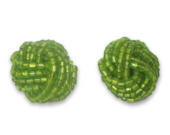 Vintage Glass Bead Knot Turban Small Button Post Earring LIME GREEN