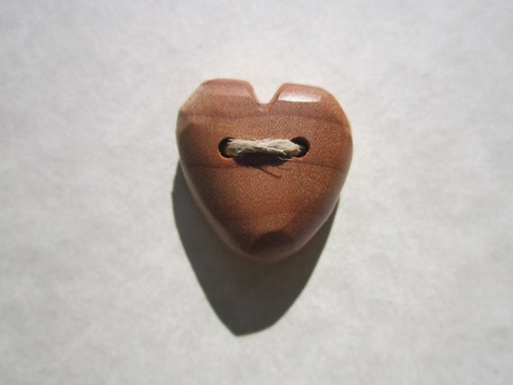 Maple Heart Button- Reclaimed Wood Button- Wooden Button- Knitting, Sewing, Craft Buttons