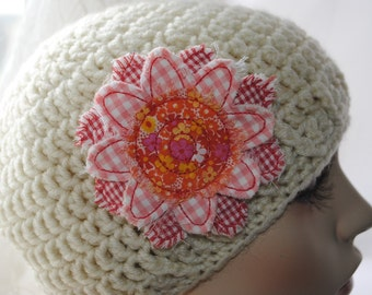 Red and Pink Checked Cotton Flower Hair Clip - Hair Clip
