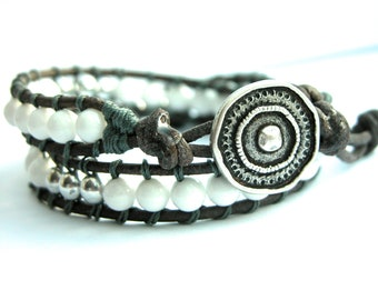 Double Leather Wrap bracelet with silver button