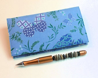 Fabric Checkbook Cover for Duplicate Checks with Pen Holder - Oriental Butterflies on Blue Cotton Fabric Check Book Cover, Cheque Book Cover