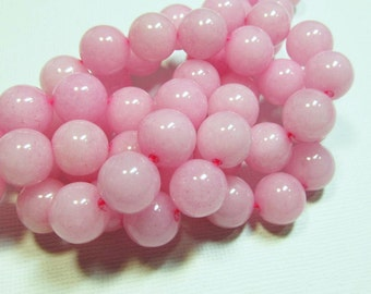 LOOSE Gemstone Beads - Jade Beads - 12mm Rounds - Cotton Candy Pink (4 beads) - gem788