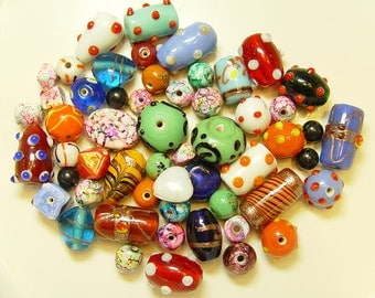 India Glass Beads Mixed Colors and Shapes 5 to 18mm Mix 1
