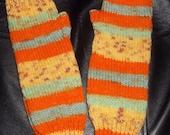 Hand Knitted Armwarmers In Magic Fair Isle Yarn Orange Green Yellow
