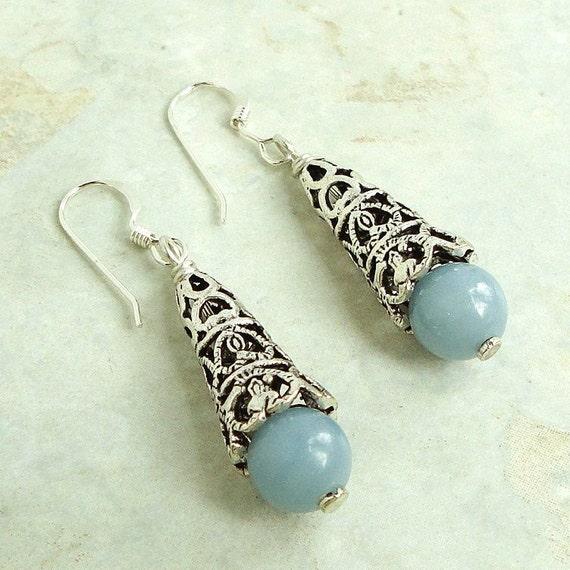 Natural Angelite Light Blue Stone Earrings, Sterling Silver Earwires, Artisan Metal