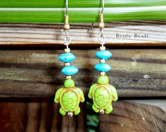 Green Turtle Tribe Earrings with Turquoise and Brass Beads