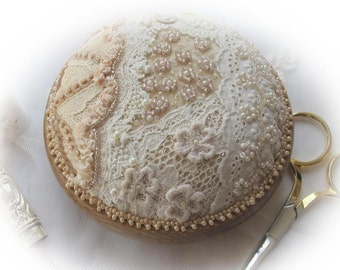 PP17 Vintage Lace and Pearls Pincushion Kit.