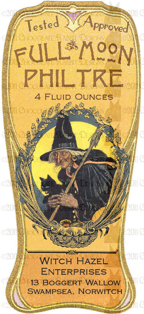 Vintage Halloween Witch Potion Bottle Label Digital Download - Full Moon Philtre High Resolution