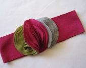 Infant Girl Headband, Fuschia Band, Moss Grey And Fuschia Buds, Photography Prop