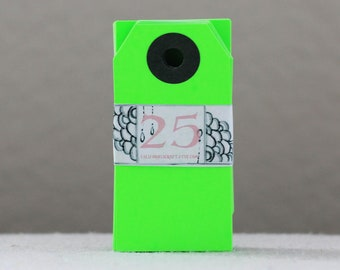 Blank Gift Tags - Mini - set of 25 in Neon Green with charcoal black reinforcement ring