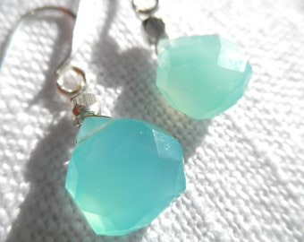 Aqua Chalcedony earrings - silver earrings - L A U R E N 142