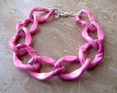 Chunky Chain Bracelet - Colorful Pink Chain Bracelet, Lightweight Chain Bracelet (Ready to Ship)