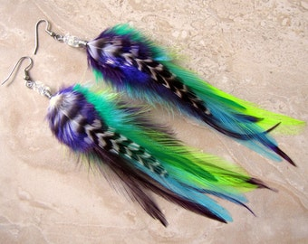 Feather Earrings - Colorful Purple, Blue and Green Feathers - Nexus
