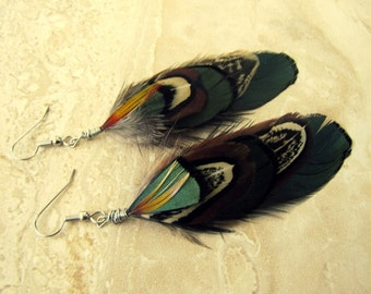 Feather Earrings - Earthy Colorful Pheasant Feathers, Tribal Dangle Earrings - Native Treasure