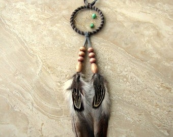 Cyber Monday Sale Dream Catcher - Natural Brown and Grey Feather Dreamcatcher, Car Dream Catcher - Dusk