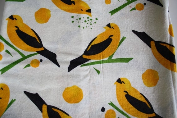 Alexander Henry, Bird Seed Fabric in Yellow, Birds, 40 inches
