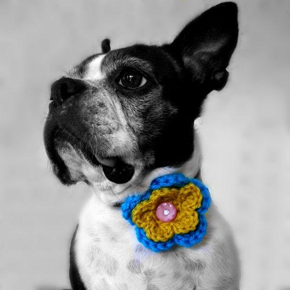 2 Color Crochet Dog Collar Flower- MORE COLORS