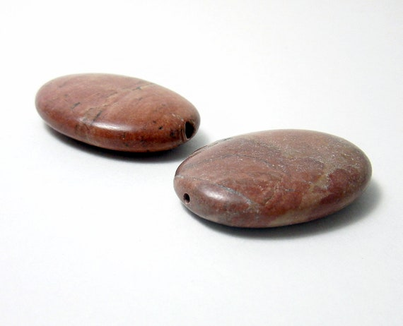 Oval Stones Beads Two Pieces Brown Tone
