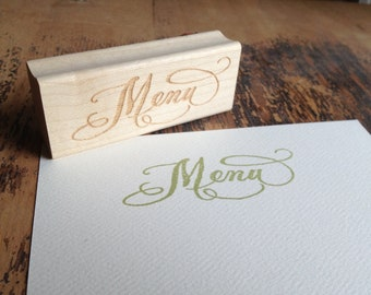 SALE Calligraphy Menu Stamp - Handwritten for weddings and crafting