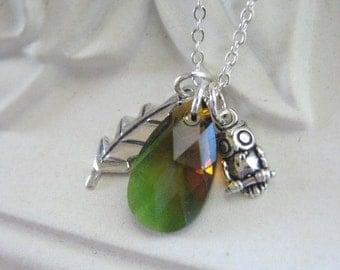 Owl Necklace, Woodland, Silver Necklace, Oak Leaf, STERLING SILVER, Pendant Necklace, Green